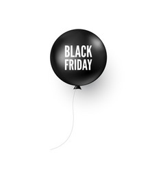 black balloon with black friday text discount vector image