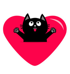 Black cat and big heart icon cute funny cartoon vector