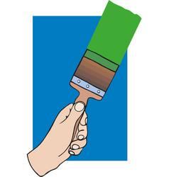 black hand holding brush vector image
