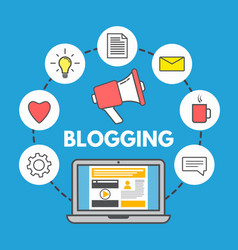 blogging concept on blue background laptop and vector image