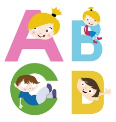 boy and girl with alphabet vector image