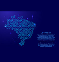 brazil map country abstract silhouette from blue vector image