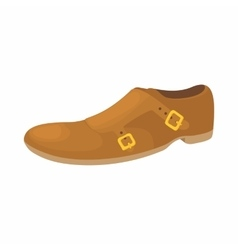 Brown leather shoe icon cartoon style vector