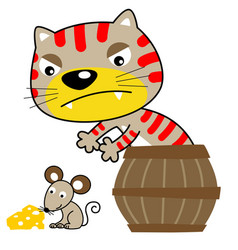 Cartoon cat try to catch a little mouse vector