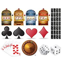 Casino set with cards and games vector image