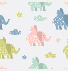 Childish seamless pattern with cute elephants vector