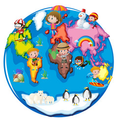 Children in different parts of the world vector