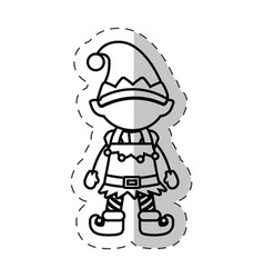christmas character elve cut line vector image