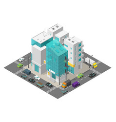 City street district quarter isometric town vector