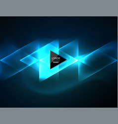 color neon glowing triangles abstract background vector image