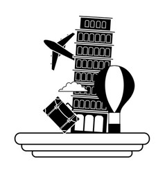 Contour leaning tower of pisa with air balloon vector