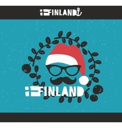 Cool emblem of Finland with hand drawn image in vector image
