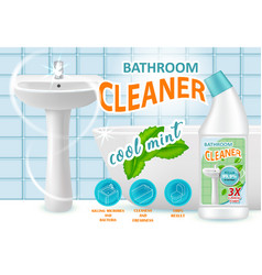 cool mint bathroom cleaner ad vector image