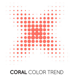Coral trendy color cross x shape in halftone vector