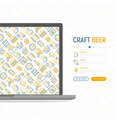 craft beer concept with thin line icons vector image
