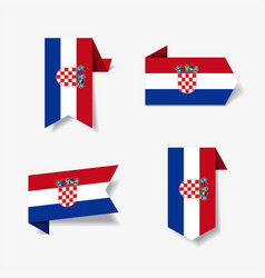 croatian flag stickers and labels vector image