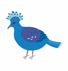 Crowned dove a blue pigeon with a fan on its head vector