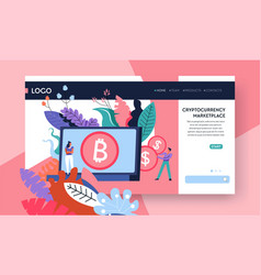 cryptocurrency marketplace internet web page vector image