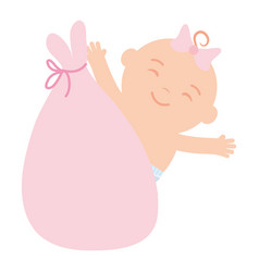 cute little bagirl in bag character vector image