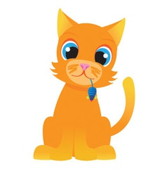 Cute orange cat with toy mouse vector