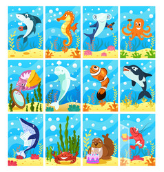 Cute smiling animals and underwater world vector