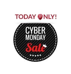 Cyber Monday black round leather label or price vector