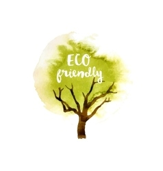Eco friendly tree emblem vector