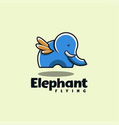 Elephant flying logo vector