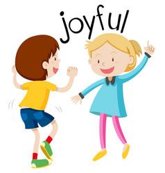 English vocabulary word joyful vector