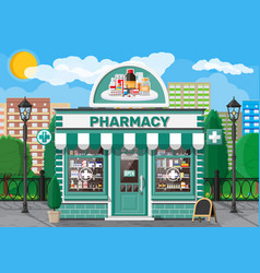 Facade pharmacy or drugstore with signboard vector