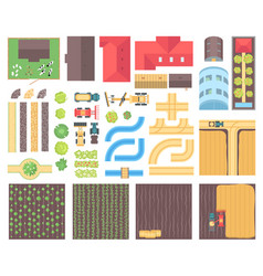 Farm elements - set of modern isolated vector