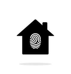 Fingerprint home secure icon on white background vector image