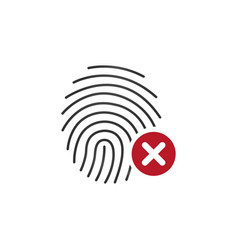 fingerprint icon with cross sign concept of vector image