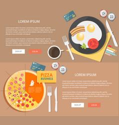 flat design breakfast concepts web vector image vector image