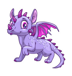 funny cartoon little dragon icon vector image