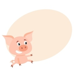 Funny little pig sitting awkwardly and pointing to vector image
