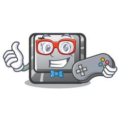 Gamer button t in keyboard cartoon vector