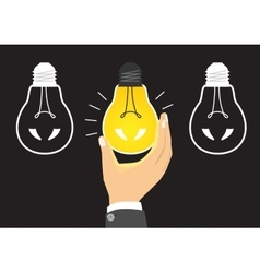 Glowing yellow light bulb after being turned on vector