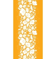 Gold and white floral silhouettes vertical vector image