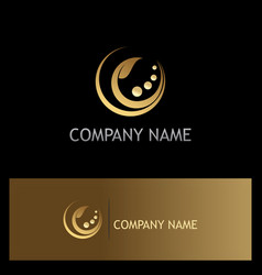 gold leaf beauty cosmetic logo vector image