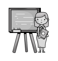 Grayscale teacher teaching class lesson in the vector