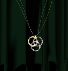 Green drape and jewelry pendant rings vector
