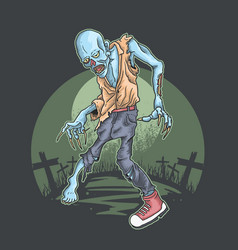 Halloween zombie rise from graveyard vector