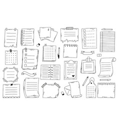 Hand drawn doodle paper notes sketch notebook vector