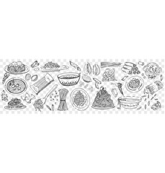 hand drawn pasta doodles set vector image