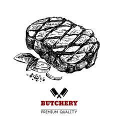 hand drawn sketch meat product vintage menu vector image