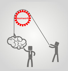 he concept of teamwork - a man holds up a brain vector image