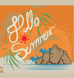 Hello summer retro style vector