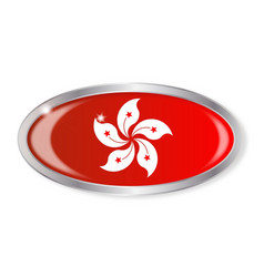 Hong kong flag oval button vector
