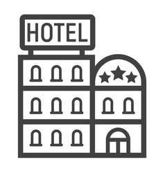 Hotel building line icon travel and tourism vector
